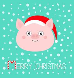 Merry christmas pig piglet face cute cartoon vector