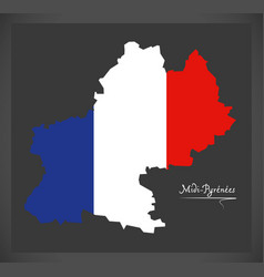 Midi-pyrenees map with french national flag vector