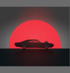 Muscle car in sunset silhouette vector