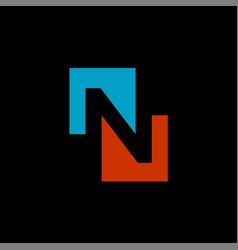 negative space n logo vector image