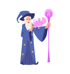 Old wizard man in robe and hat stands with staff vector