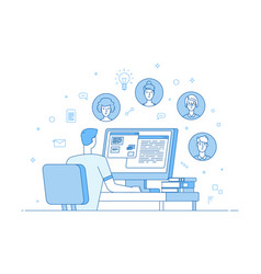 online teamwork video conference corporate vector image