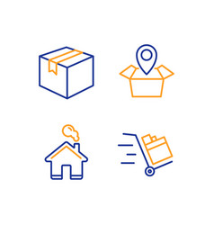 Package location parcel and home icons set push vector