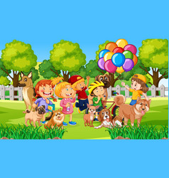 Park outdoor scene with many children and their vector