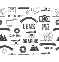 Photography symbols elements seamless pattern vector
