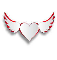 Red and white heart with wings cut out on a white vector