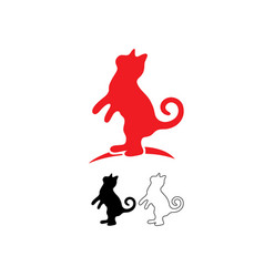 red cat logo line and silhouette vector image