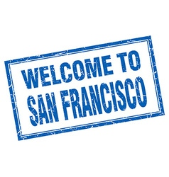 San Francisco blue square grunge welcome isolated vector