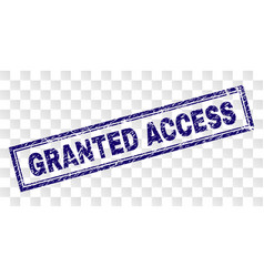 Scratched granted access rectangle stamp vector