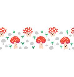 seamless border cute toadstools cute vector image