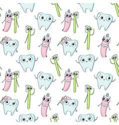 seamless pattern with cute childish characters vector image