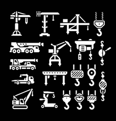 Set icons of crane lifts winches and hooks vector image