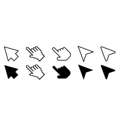 set of cursor icons in line and flat modern design vector image