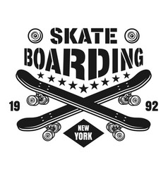 Skateboarding emblem with two skate decks vector