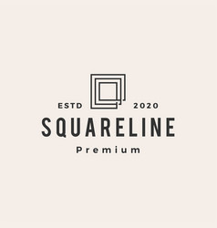 square line outline hipster vintage logo icon vector image