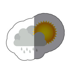Sticker colorful cumulus cloud with rain and sun vector