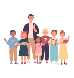Teacher and kids people together vector