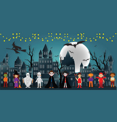 the festival characters in the dark night vector image