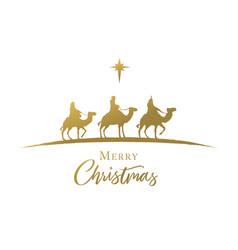Three wise men golden silhouette nativity scene vector