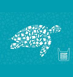 turtle plastic waste ocean environment problem vector image
