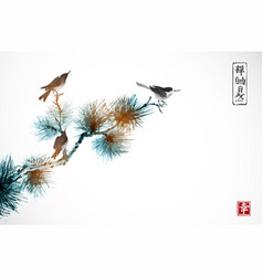 Two birds on pine tree traditional oriental ink vector