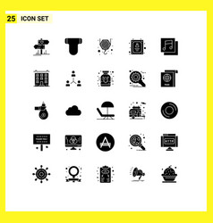 User interface pack 25 basic solid glyphs of vector
