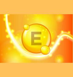 vitamin e gold shining pill capsule icon vitamin vector image