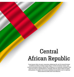 Waving flag of central african republic vector