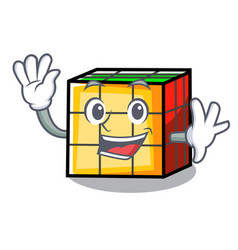 Waving rubik cube character cartoon vector