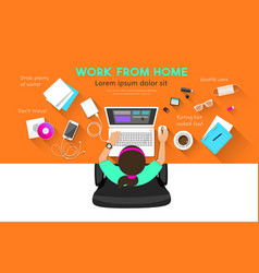 Woman work from home computer desk top view vector
