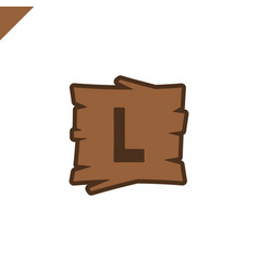 Wooden alphabet or font blocks with letter l in vector