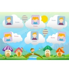 Yearbook about boy with book and fairy landscape vector