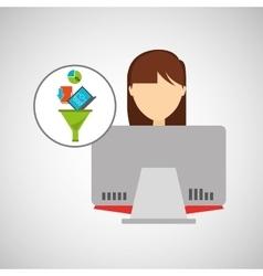 Young girl using computer data analysis vector