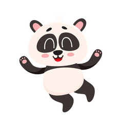 cute and funny smiling baby panda character vector image