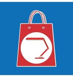 Hand holds bag gift lamp design vector