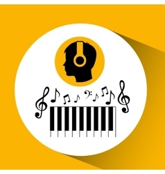 head silhouette listening music piano vector image vector image