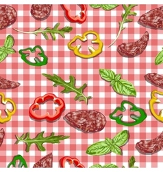 Red and white classic checkered tablecloth texture vector
