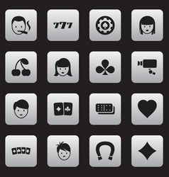 Set of 16 editable game icons includes symbols vector