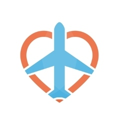 airplane and heart logo design template vector image vector image