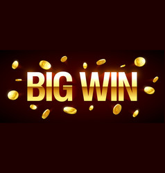 big win gambling games banner with big win vector image vector image