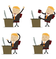 Businessman on computer vector image vector image