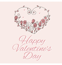 heart with flowers on valentines day vector image