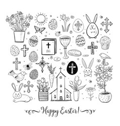 set of easter doodles on white background vector image vector image