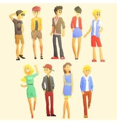 Young Stylishly Dressed People vector image vector image