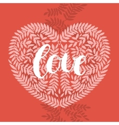 Love card with handdrawn lettering vector image vector image