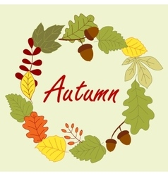 Season frame with autumn leaves vector image