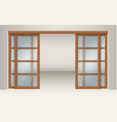 sliding glass doors with wooden lintels vector image