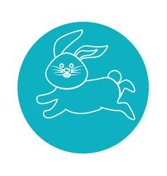 Sticker happy rabbit running cartoon vector