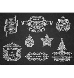 Christmas Greeting Labels vector image