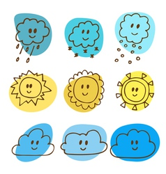 Cute hand drawn weather icons vector image